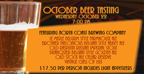 October Beer Tasting Featuring North Coast Brewing Company