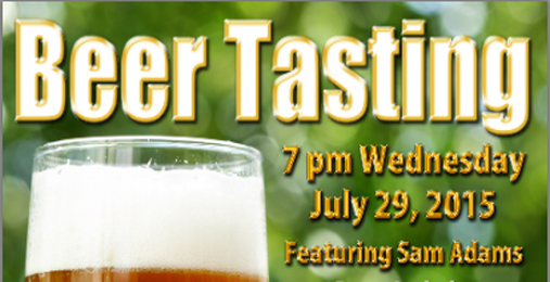 July 29th Sam Adams Beer Tasting