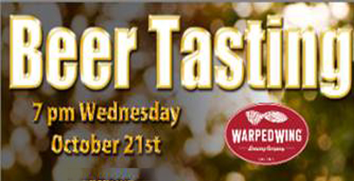 Our October Warped Wing Beer Tasting is 10/21/15!