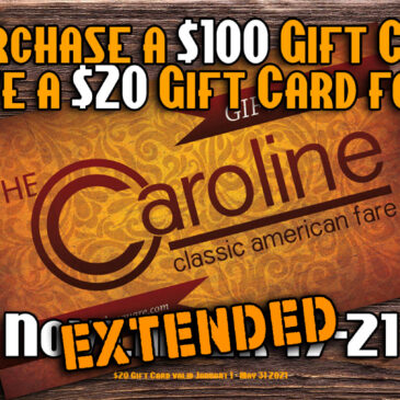 We've EXTENDED our Free $20 Gift Card with your Purchase of a $100 Gift Card Promotion!